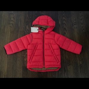 Zara baby boy red puffer jacket sz 2/3 yrs.